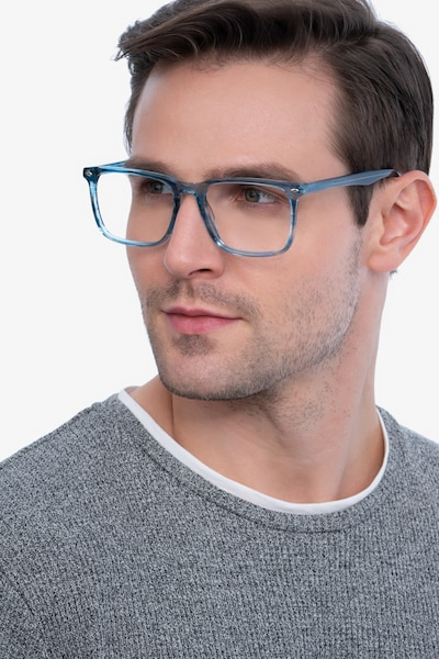 Tactician Blue Striped Acetate Eyeglass Frames for Men from EyeBuyDirect, Front View
