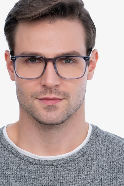 Tactician Gray Acetate Eyeglass Frames for Men from EyeBuyDirect, Front View