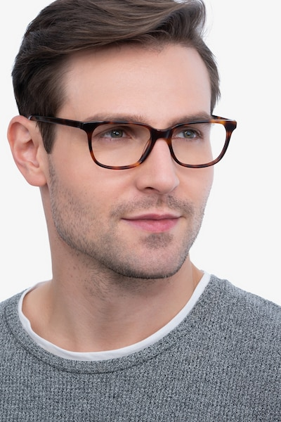 Peruse Brown Tortoise Acetate Eyeglass Frames for Men from EyeBuyDirect, Front View