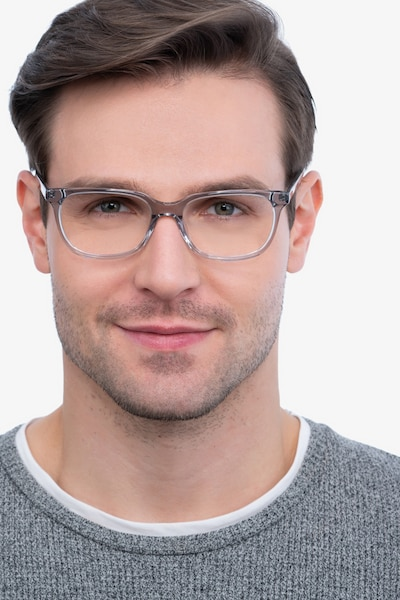 Peruse Clear Gray Acetate Eyeglass Frames for Men from EyeBuyDirect, Front View