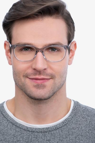 Peruse Clear Gray Acétate Montures de Lunette de vue pour Hommes d'EyeBuyDirect, Vue de Face