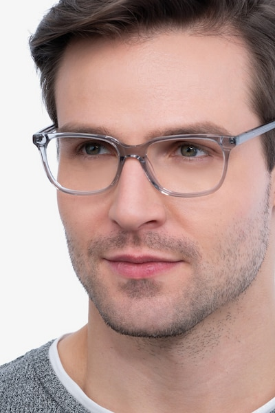 Peruse Clear Gray Acetate Eyeglass Frames for Men from EyeBuyDirect