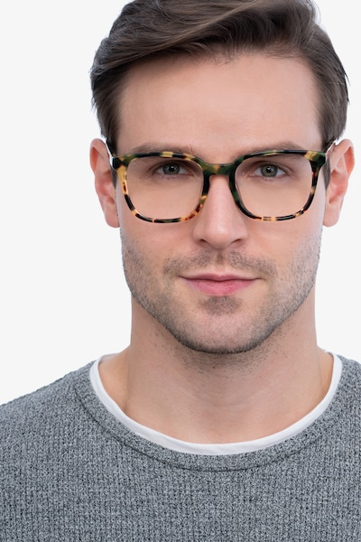 Tower Green Tortoise Acetate Eyeglass Frames for Men from EyeBuyDirect, Front View