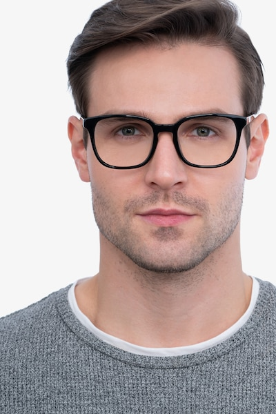 Tower Black Acetate Eyeglass Frames for Men from EyeBuyDirect, Front View