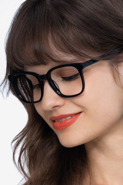 Tower Black Acetate Eyeglass Frames for Women from EyeBuyDirect