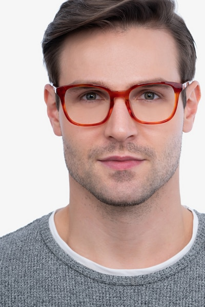 Tower Blood Orange Acetate Eyeglass Frames for Men from EyeBuyDirect, Front View