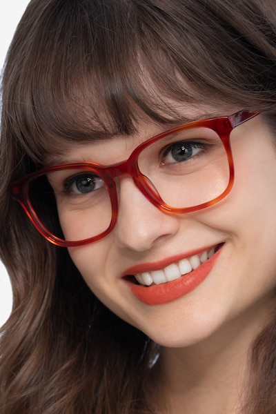 Tower Blood Orange Acetate Eyeglass Frames for Women from EyeBuyDirect