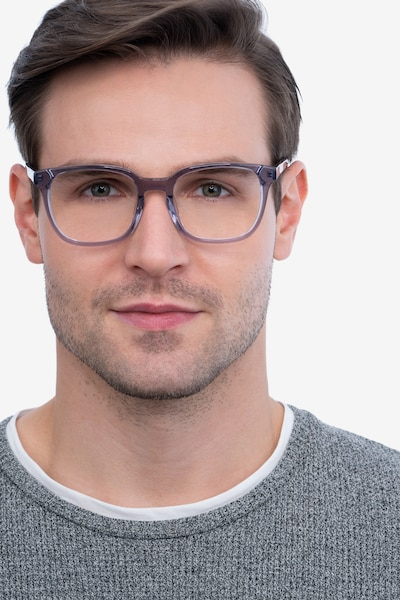 Tower Gray Acetate Eyeglass Frames for Men from EyeBuyDirect, Front View