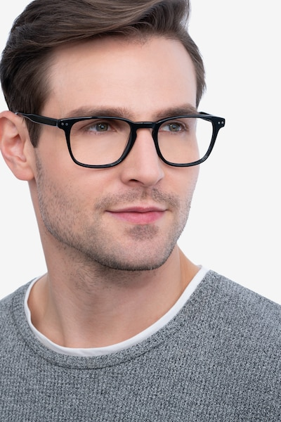 Illustrate Black Acetate Eyeglass Frames for Men from EyeBuyDirect, Front View