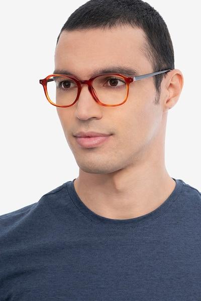 Atlantic Orange Acetate Eyeglass Frames for Men from EyeBuyDirect, Front View