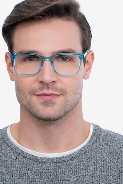 Charlie Blue Acetate Eyeglass Frames for Men from EyeBuyDirect, Front View