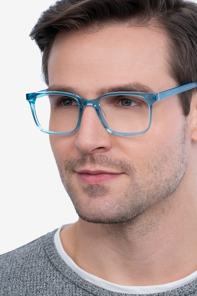 Charlie Blue Acetate Eyeglass Frames for Men from EyeBuyDirect