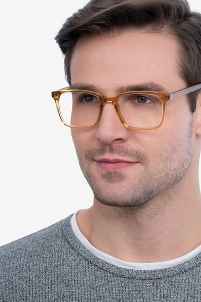 Charlie Clear Brown Acetate Eyeglass Frames for Men from EyeBuyDirect, Front View