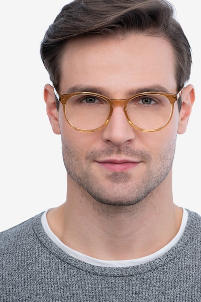 Dulce Yellow Acetate Eyeglass Frames for Men from EyeBuyDirect
