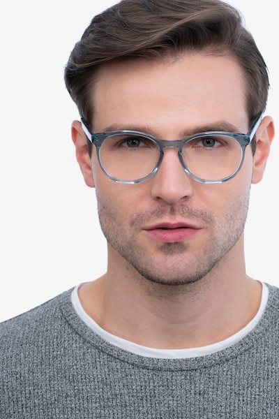 Dulce Blue Acetate Eyeglass Frames for Men from EyeBuyDirect, Front View