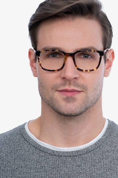Longway Tortoise Acetate Eyeglass Frames for Men from EyeBuyDirect, Front View