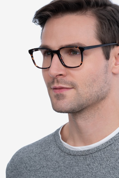 Longway Dark Tortoise Acetate Eyeglass Frames for Men from EyeBuyDirect, Front View