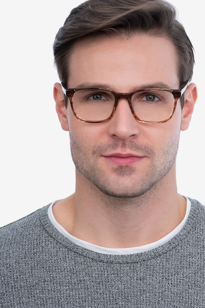 Longway Brown Striped Acetate Eyeglass Frames for Men from EyeBuyDirect, Front View