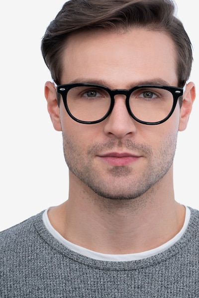 Maeby Black Acetate Eyeglass Frames for Men from EyeBuyDirect, Front View