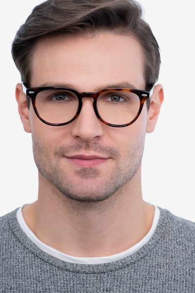 Maeby Dark Tortoise Acetate Eyeglass Frames for Men from EyeBuyDirect, Front View
