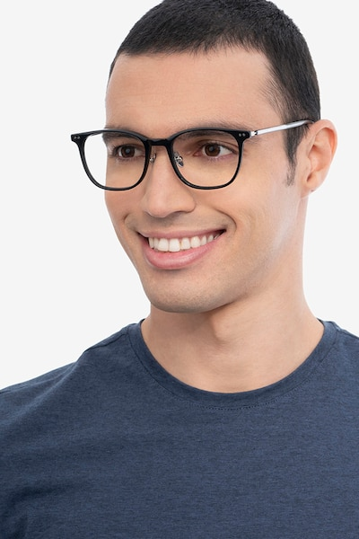 Follow Black Acetate Eyeglass Frames for Men from EyeBuyDirect, Front View