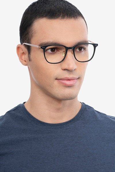 Follow Gray Striped Acetate Eyeglass Frames for Men from EyeBuyDirect, Front View