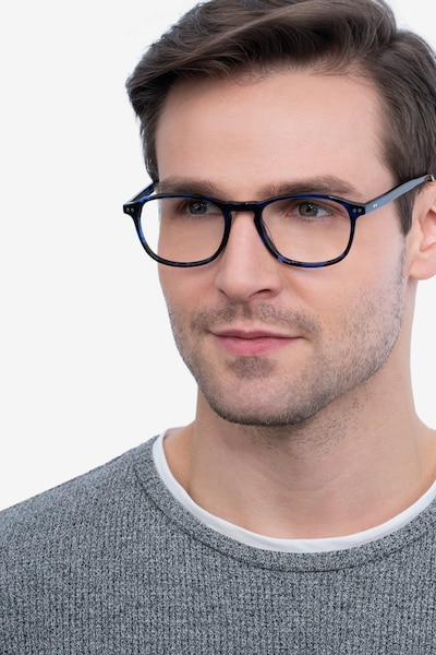 Socorro Blue Tortoise Acetate Eyeglass Frames for Men from EyeBuyDirect, Front View