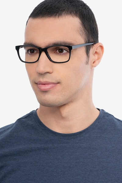 Annett Black Acetate Eyeglass Frames for Men from EyeBuyDirect, Front View