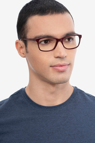 Annett Burgundy Acetate Eyeglass Frames for Men from EyeBuyDirect, Front View