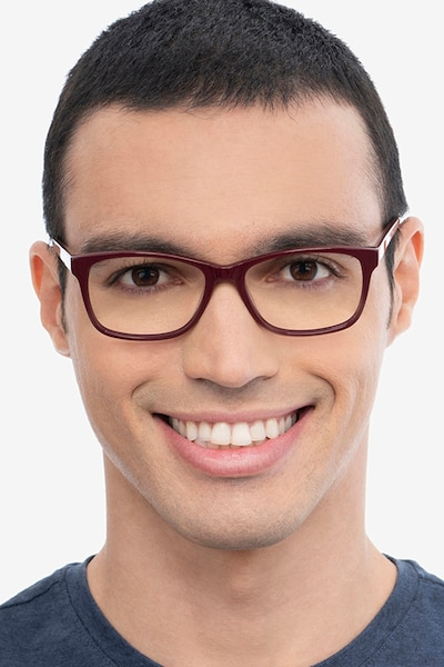 Annett Burgundy Acetate Eyeglass Frames for Men from EyeBuyDirect