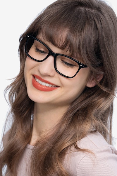 Varda Black Acetate Eyeglass Frames for Women from EyeBuyDirect, Front View