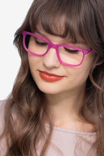 Lugano Fuchsia Pink Acetate Eyeglass Frames for Women from EyeBuyDirect, Front View