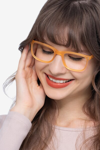 Lugano Light Orange Acetate Eyeglass Frames for Women from EyeBuyDirect