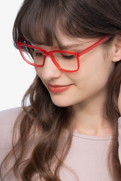 Lugano Red Acetate Eyeglass Frames for Women from EyeBuyDirect, Front View