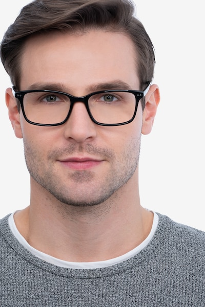 Basel Black Acetate Eyeglass Frames for Men from EyeBuyDirect, Front View