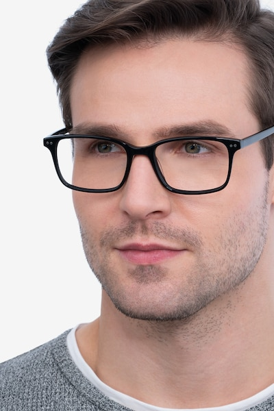 Basel Black Acetate Eyeglass Frames for Men from EyeBuyDirect