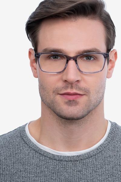 Basel Gris Acétate Montures de Lunette de vue pour Hommes d'EyeBuyDirect, Vue de Face