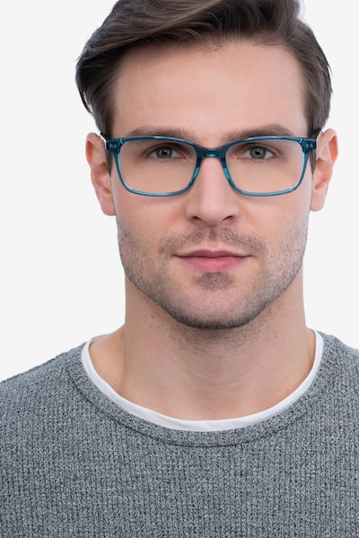 Basel Green Blue Acetate Eyeglass Frames for Men from EyeBuyDirect, Front View