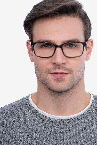 Clipperton Gray Striped Acetate Eyeglass Frames for Men from EyeBuyDirect, Front View