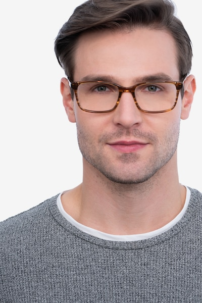 Clipperton Brown Striped Acetate Eyeglass Frames for Men from EyeBuyDirect, Front View
