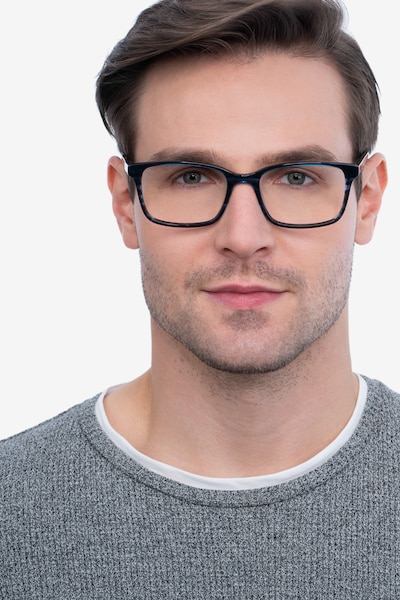 Clipperton Blue Striped Acetate Eyeglass Frames for Men from EyeBuyDirect, Front View