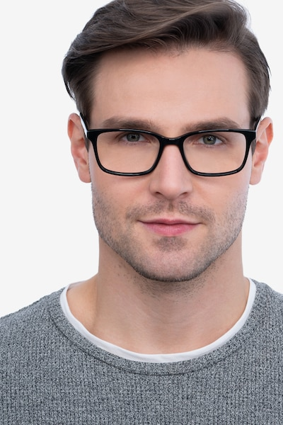 Clipperton Black Acetate Eyeglass Frames for Men from EyeBuyDirect, Front View