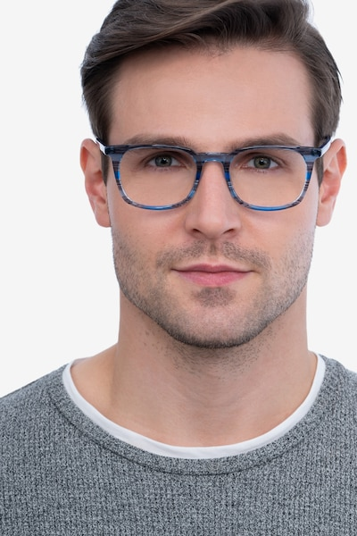 Gabor Blue Striped Acetate Eyeglass Frames for Men from EyeBuyDirect, Front View