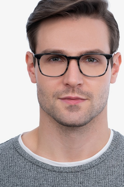 Gabor Gray Striped Acetate Eyeglass Frames for Men from EyeBuyDirect, Front View