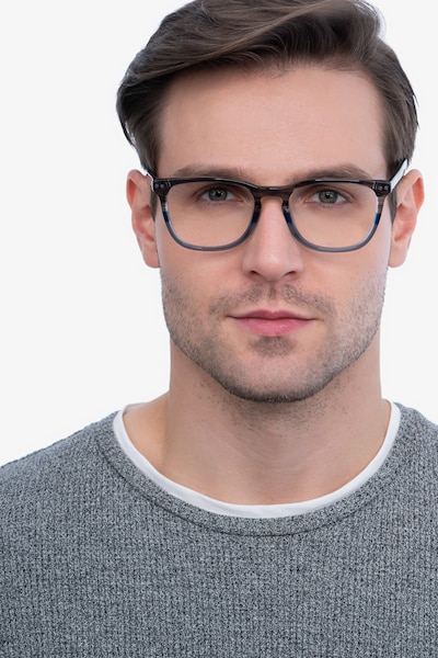 Gato Gray Striped Acetate Eyeglass Frames for Men from EyeBuyDirect, Front View