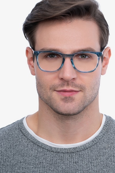 Gato Blue Striped Acetate Eyeglass Frames for Men from EyeBuyDirect, Front View