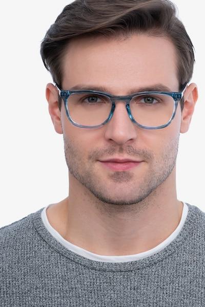 Gato Blue Striped Acétate Montures de Lunettes pour Hommes d'EyeBuyDirect, Vue de Face