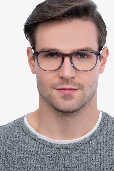Gato Gray Acetate Eyeglass Frames for Men from EyeBuyDirect, Front View