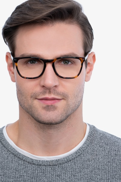 Gato Tortoise Acetate Eyeglass Frames for Men from EyeBuyDirect, Front View