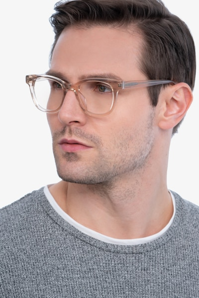 Lighthouse Champagne Acetate Eyeglass Frames for Men from EyeBuyDirect, Front View